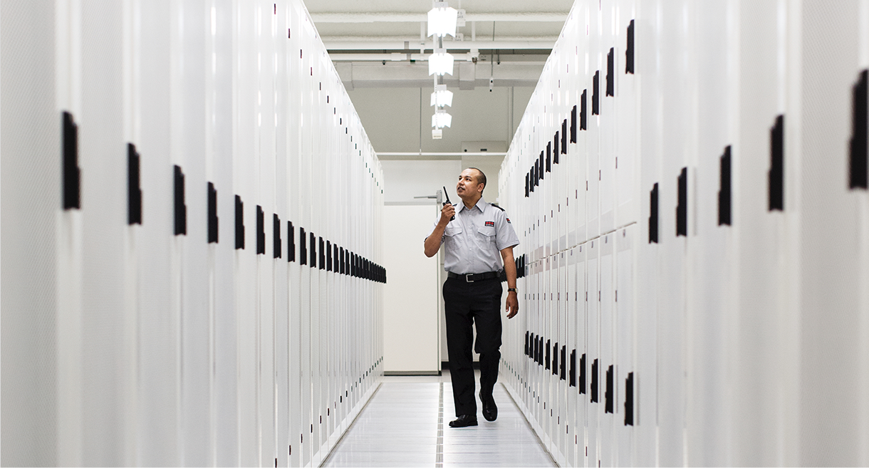 security officer walking in data central